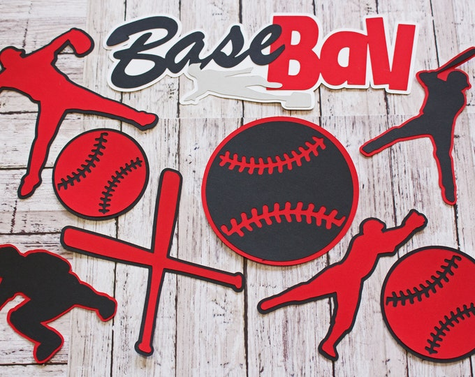 Any Colors, Baseball Die Cut Set, Scrapbook Embellishment, High School Baseball, Pro Ball Team, Little League, Custom Color, Handmade Diecut