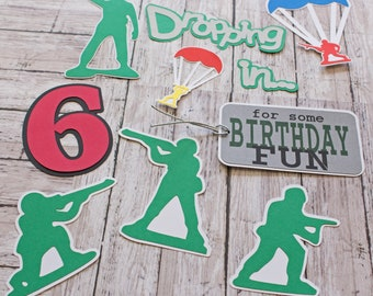 Any Birthday Year, Set of 10, Layered Die Cut, Scrapbook Embellishment, Handmade Diecut, Little Green Army Men, Military Theme, Personalized