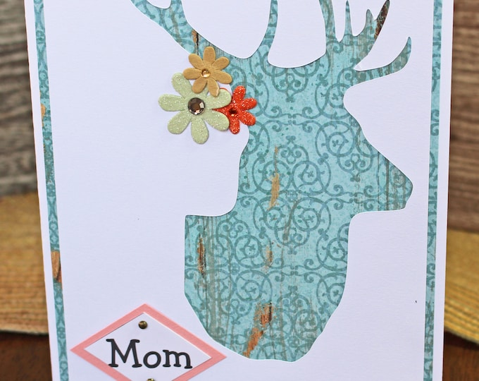 Custom Floral Stag Head Card, Any Occasion, Handmade Birthday Greeting, Rustic Mother's Day Card, Special Occasion, Congratulations Card