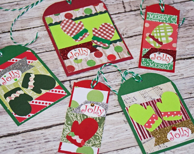 Set of 5, Assorted Christmas Gift Tags, Handmade Mitten Hang Tag, Present Wrap Embellishment, Holiday Gifts, Jolly Winter Snow, Knit Gloves