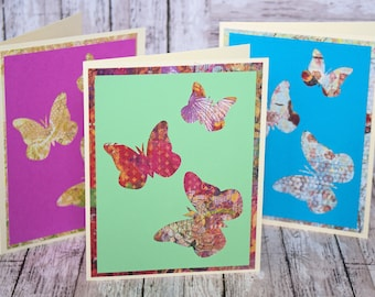 Set of 3, Butterfly Note Cards, Handmade Card, Handmade Butterfly Card, Butterfly Birthday, Butterfly Thank You, Butterfly Card Set, Cards