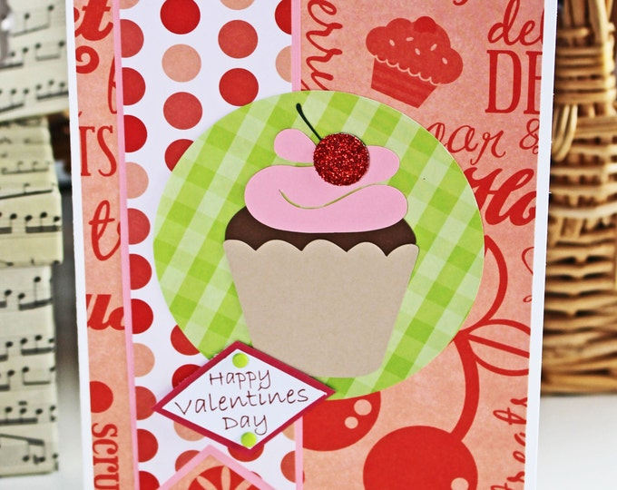 Cupcake Sweet Treats Valentine Card - Cupcake, Red, Sweets, Sweetie, Valentine, Glitter, Cherry, Cupcake Card, Sweets Card, Sweet Valentine