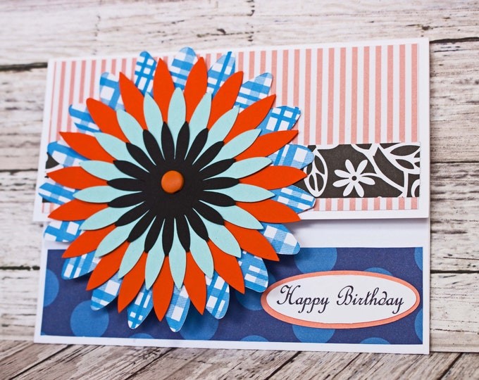 Vibrant Blue Coral Mum Gift Card Holder, Floral Money Card, Flower Birthday Gift, Handmade Money Card, Colorful Birthday, Garden Party Theme