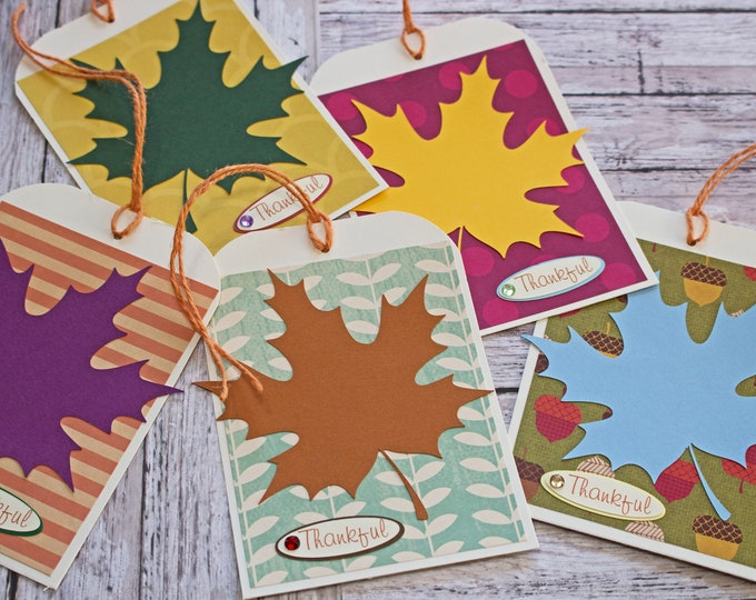 Set of 5, Large Fall Leaf Tags, Thanksgiving Gift Basket Tags, Holiday Tags, Handmade Tags, Large Gift Tag, Dinner Place Card, Thankful Tags