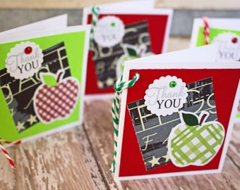 Set of 4, Teacher Gift Tags, Handmade Gift Tags, Apple Gift Tags, Gift Tags, Apple, Tags, Teacher, Teacher Thank You, Hang Gift Tags, Thank
