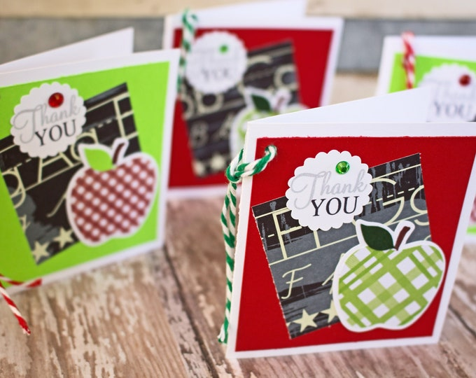 Set of 4, Teacher Gift Tags, Handmade Gift Tags, Apple Gift Tags, Gift Tags, Apple, Tags, Teacher, Teacher Thank You, Hang Gift Tags, Thank