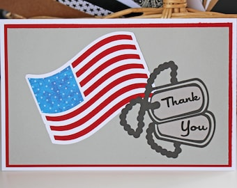 Customize Message, American Flag & Dog Tag Card, Hand made Patriotic, Miss You, Thank You, Honor Service Sacrifice, Welcome Home, Deployment