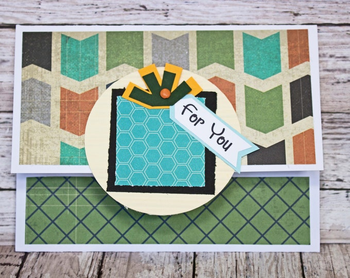 Birthday Gift Card Holder, Geometric Design, Masculine Money Card, Present Themed Card, Hand Made, Blue Green Black, Colorful Birthday Card