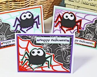 Halloween Spider Cards, Halloween Card Set, Handmade Cards, Halloween Birthday, Black Widow, Tarantula, Cute Halloween Spider Card, Happy
