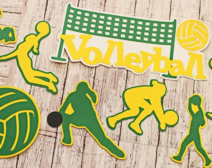 Any Color, Girls Volleyball, Die Cut Set, Female, Scrapbooking Design, High School, Volley Ball, Team Color, Handmade Diecuts, Party Decor