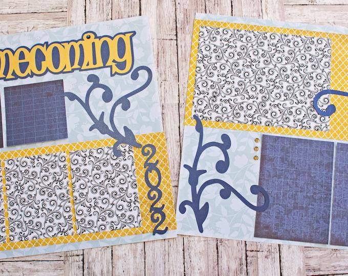 Any Color, Custom Made, Homecoming Scrapbook Page Set, Scrap Book Kit, High School Memories, Elegant Filigree Design,  Premade Memory Pages