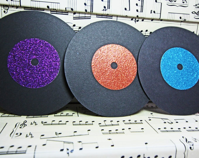 Vinyl Record Die Cuts, Retro Die Cut, Rock N Roll Die Cut, Rock Music Die Cut, Music Scrapbook, Handmade Die Cuts, Retro Scrapbook Pages