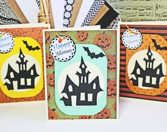 Set of 3, Haunted Mansion Cards, Halloween Card Set, Spooky Halloween Cards, Haunted House Cards, Handmade Cards, Halloween Cards, Haunted