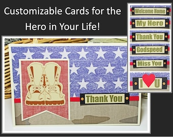 Customize Front Message, Handmade Card, American Flag, Combat Boots, Miss You, Welcome Home, My Hero, Thank You, Love U, Encourage, Support