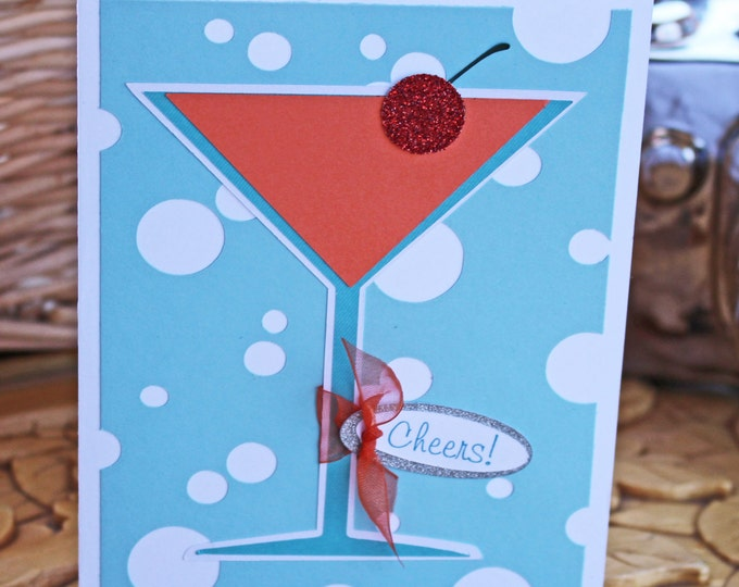 Martini Glass Card, Fruity Cocktail, Handmade Greeting, Any Celebration, Cheers Birthday Message, Pink Glitter, Bubbly Drink, Sophisticated
