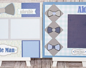 Any Color, Baby Boy Bow Tie, Handmade Scrapbook Page Set, Little Man bowtie, Custom Premade Kit, Personlized Memory Book, Baby Shower Gift