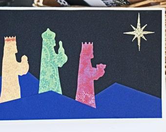 Three Kings Christmas Card, 3 Wise Men, Handmade Greeting, Holy Night Christmas Card, Christmas Star Bethlehem, Birth of Jesus Celebration