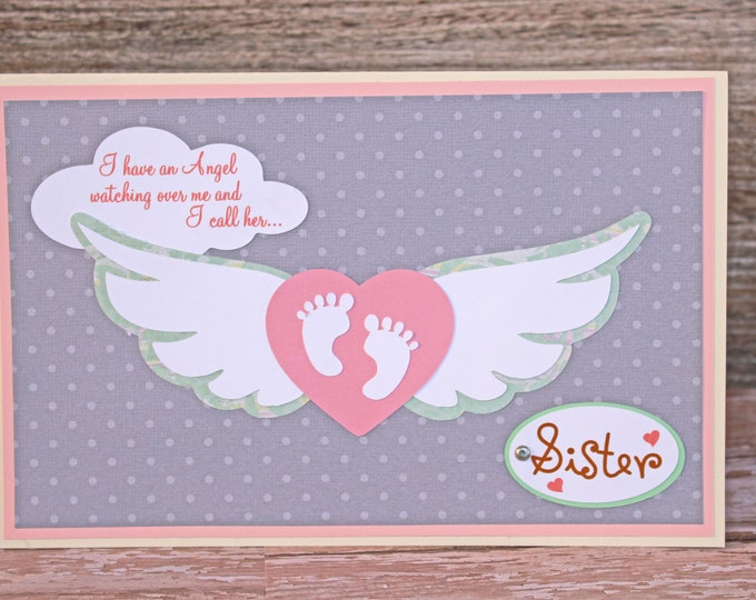 Loss of Sibling Sympathy Card, Baby Feet with Angel Wings, Handmade Card, Sympathy Card, Bereavement, Sibling Angel, Angel in Heaven, Loss