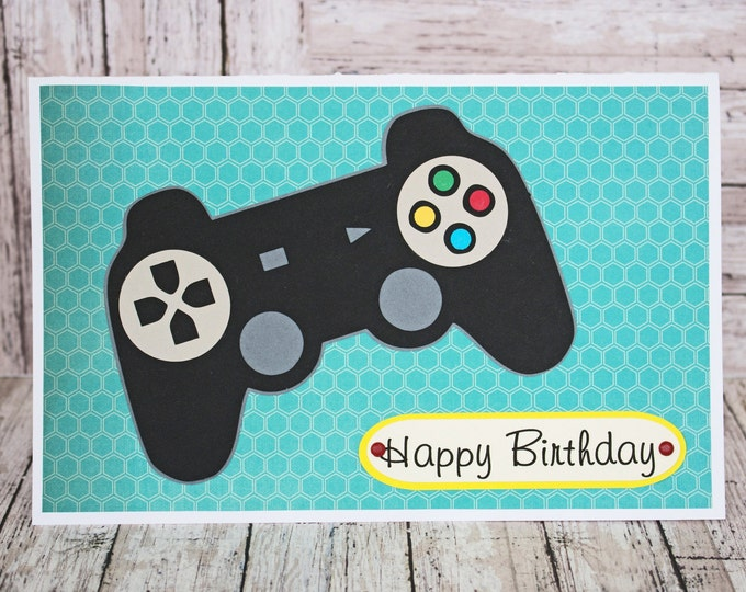 Game Controller Card, Handmade Birthday Card, Card for Teenagers, Tween Birthday, Video Game Card, Custom Greeting, Gamer Birthday Card, Kid