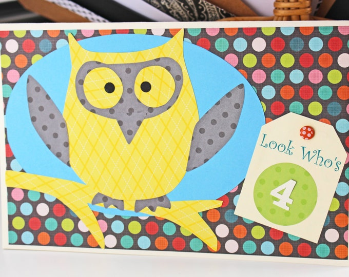 Boy or Girl - Personalized, Colorful, Handmade, Owl, Birthday, Card, Add any, Number, Hoot, Owls, Boy, Girl, Kids, Teens, Hooters, Look, Who