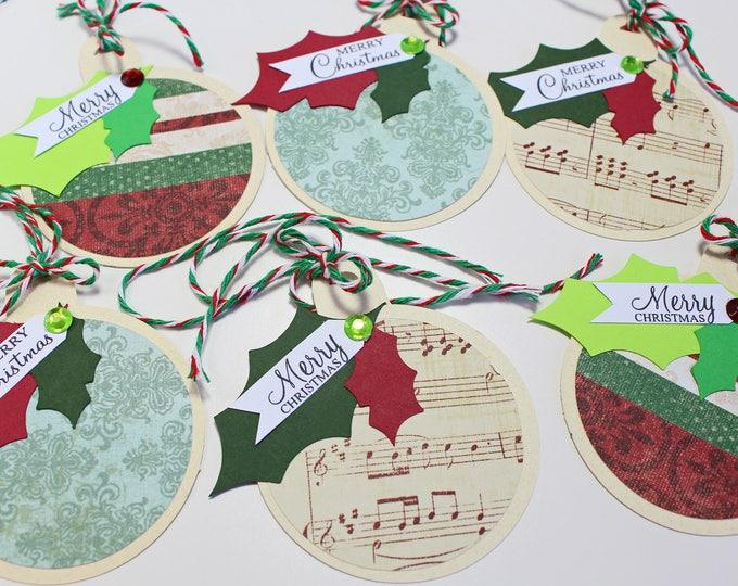 6 Christmas Ornament Tags, Handmade Gift Tag, Assorted, Gift Tag Set, Christmas Gift Tag, Holiday, Gift Tag, Ornament Gift Tag, Ornament Tag