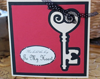 Antique Key to My Heart Card, Anniversary Card, Valentine Card, Love You Card, Antique Key Card, Heart Card, Key, Heart Card, Handmade Card