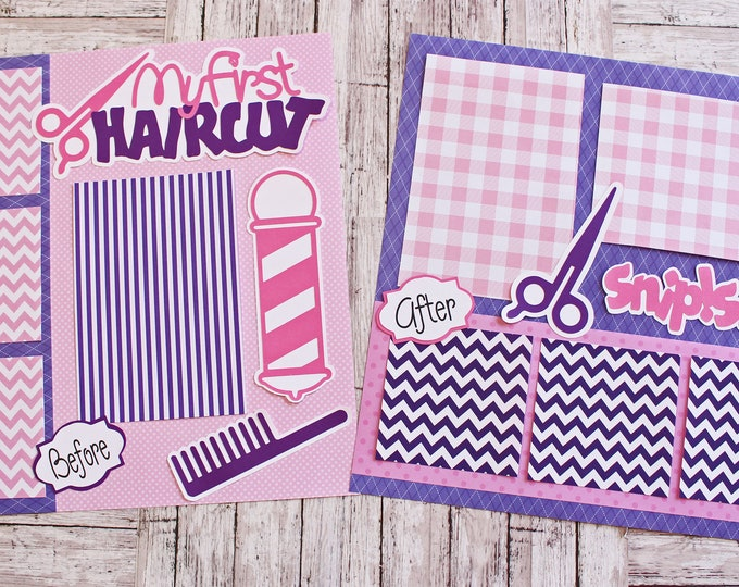 Pick Any Colors, My First Haircut, Premade Scrapbook Page Set, 12 x 12 Pages, Baby Beauty Shop, Baby's First Haircut, Children's Memory Book