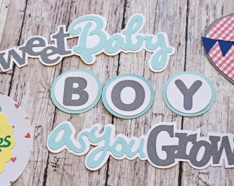 Baby Boy Die Cut Set, Set of 8 Layered Die Cuts, Scrapbook Embellishment, Hot Air Balloon, Baby Book, Handmade, Newborn Boy Aviation Theme