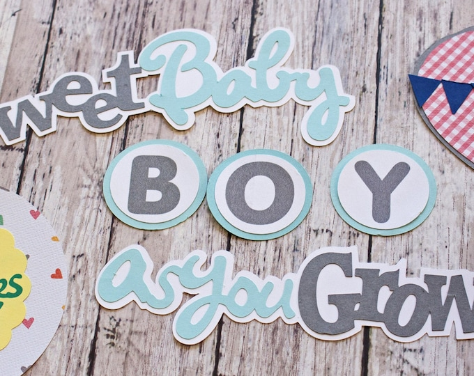 Baby Boy Die Cut Set, Set of 8 Layered Die Cuts, Scrapbook Embellishment, Hot Air Balloon, Baby Book, Handmade, Newborn Boy Aviation Theme
