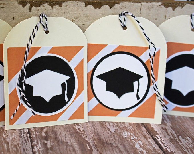 Set of 4, Graduation Tags, Handmade Gift Tags, Graduation Cap Tags, Gift Tags, Graduation Cap, Tags, Graduation, Party Favor Tag, Hang Tags