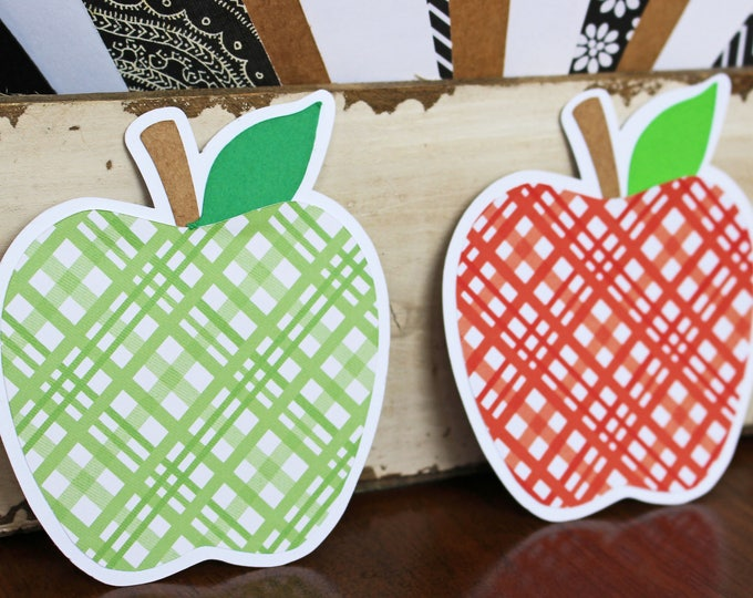 2 Apple Die Cut, Teacher Die Cut Set, Apple, School, Teacher, Die Cut, Apples, Handmade, Orchard, Scrapbook, Red Apple, Green Apple, Fruit