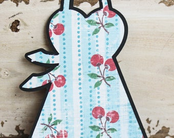 Set of 2, Ladies Apron Die Cut Set, Cooking Chef, Christmas Baking Pages, Feminine Apron, Kitchen Cherries, Cooking Scrapbook, Bakery Fun