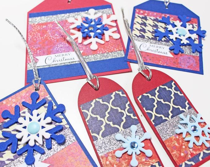 Set of 5, Snowflake Gift Tags, Snowflake Christmas Tag, Snowflake Holiday Tag, Handmade Gift Tag, Snow, Flake, Holiday, Christmas, Gift Tag