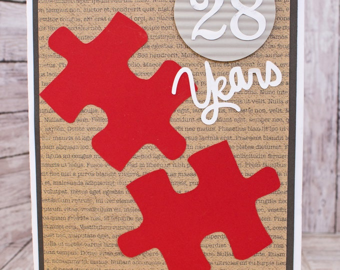 Custom Year, You Complete Me, Puzzle Piece Card, Anniversary Card, Rustic Love Card, Handmade Card, Unique Valentine, Husband Wife Greeting