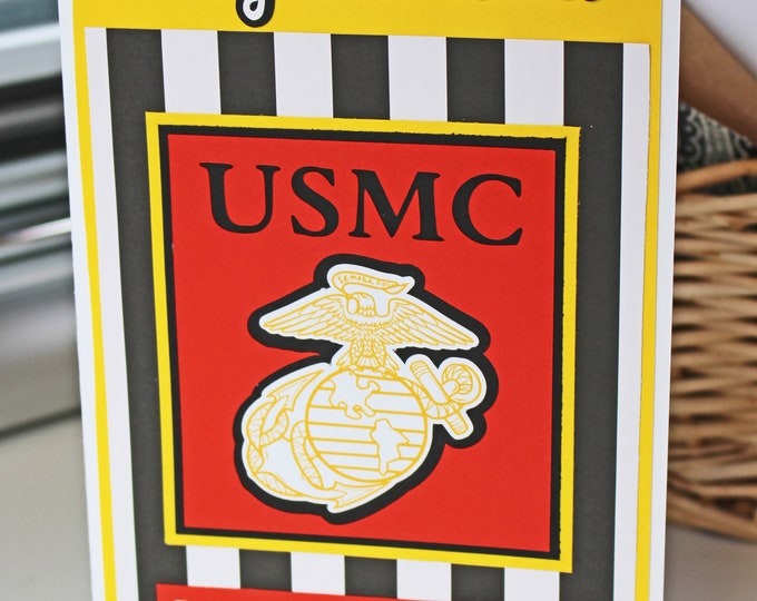Marine Corps Card, Marine Corps Retirement, Marine Corps Promotion, Marine Graduation, Marine Retirement, Marine Promotion, Handmade Card