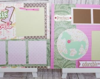 Handmade Scrapbook Page Set, Any Birthday, Little Girl, Custom Premade Kit, Personlized Memory Book, Rocking Horse, Antique Birthday Theme