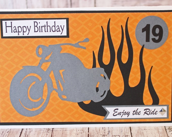 Any Birthday Year, Enjoy the Ride, Motorcycle Rider Card, Father's Day Card, Birthday Card, Biker Special Occasion, Handmade Specialty Gift