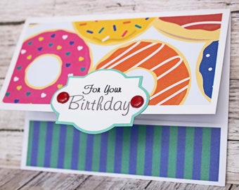 Birthday Gift Card Holder, Assorted Doughnut Birthday Card, Donut Lover's Birthday Card, Handmade Money Card, Anyone Birthday, Any Gender