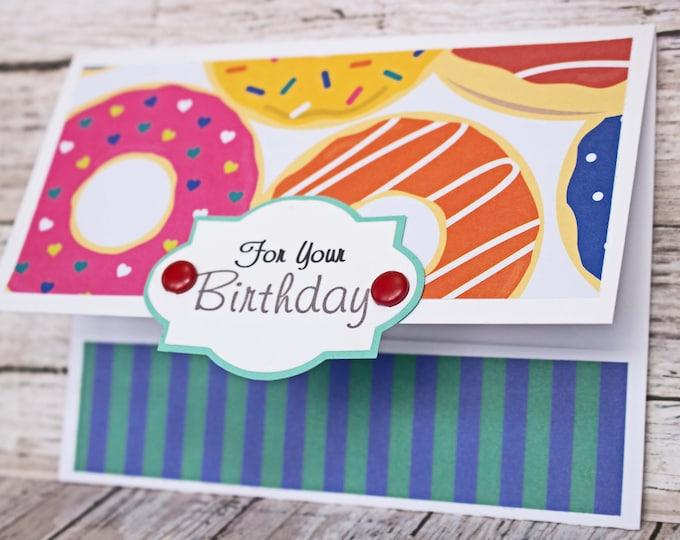 Birthday Gift Card Holder, Assorted Doughnut Birthday Card, Donut Lover's Birthday Card, Handmade Money Card, Anyone Birthday, Any Gender