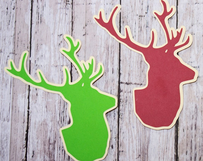 Set of 2, Stag Head Die Cuts, Layered Die Cut, Christmas, Scrapbook, Embellishment, Stag, Deer, Elk, Buck, Die Cut, Antler, Hunting, Holiday