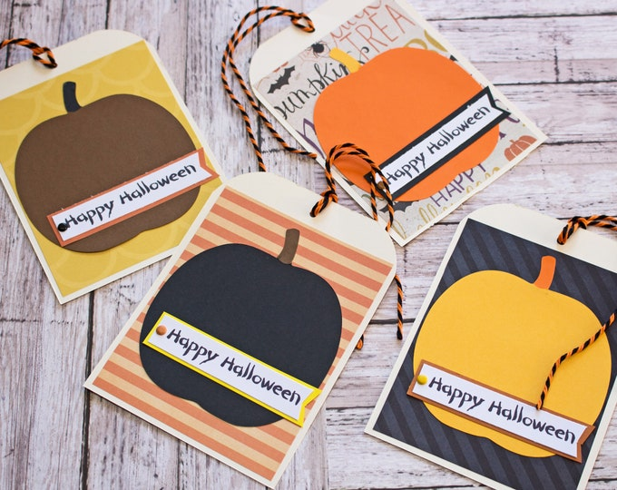 Halloween Pumpkin Treat Tags, Large Tag Set, Set of 4 Hang Tags, Party Decor, Treat Bag, Name Tag, Halloween Tag, Cute Pumpkin Party Favor