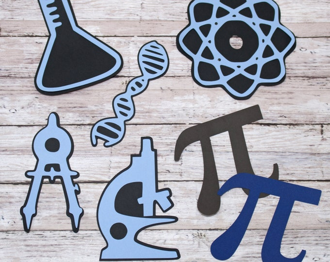 Any 2 Colors, Set of 7, Layered Diecuts, Science Math Class, Custom Die Cut Set, Elementary, Middle Junior, High School, Scrapbook Embellish