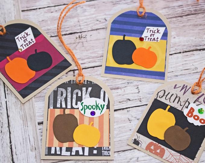 Halloween Pumpkin Tags, Set of 4 Hang Tags, Halloween Party Decor, Treat Bag, Name Tag, Pumpkin Gift Tag, Favor Tag, Trick or Treat Bag Tag