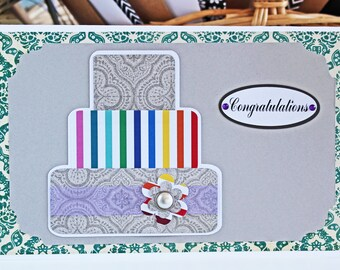 Colorful Layered Wedding Cake Card - Wedding, Congratulations, Handmade, Card, Rainbow, Silver, Colorful, Cake, Newlywed, Celebrate, Love