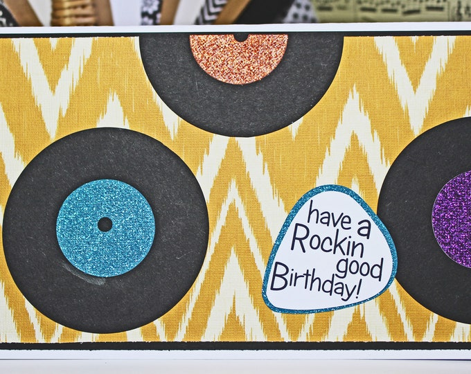 Retro, Vinyl, Record, Birthday, Handmade, Card, Rock, and, Roll, Music, Disco, Soul, Classic, Glitter, Guitar, Player, Turntable, DJ, Jam