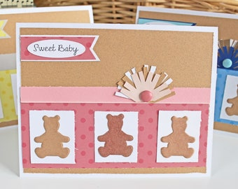 Baby Girl Teddy Bear Card, Pink Teddy Bear Card, Teddy Bear Baby Card, Sweet Baby, Teddy Bear Card, Teddy Bear Shower, Bear Baby Shower Card