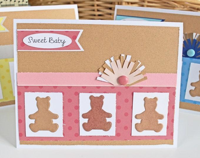 Baby Girl Teddy Bear Card, Pink Teddy Bear Card, Teddy Bear Baby Card, Sweet Baby, Teddy Bear Card, Teddy Bear Shower, Bear Baby Shower Card