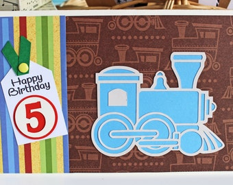 Custom Number Train Card, Train Birthday Card, Train Card for Kids, Boys Birthday, Girls Birthday, Handmade Greeting, Train Birthday Party