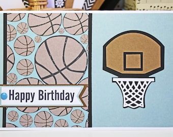 Basketball Birthday Card, Handmade Birthday Card, Custom Card, Basketball Card, Team Sports, Greeting, Personalized Card, Team Color Card