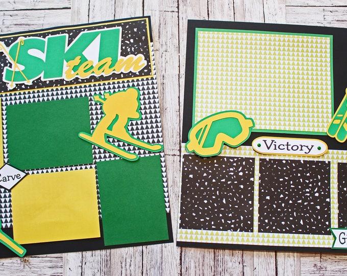 School Team Colors, Custom Made, Ski Team Scrapbook Page Set, Memory Book Kit, Premade Ski Team Page, Custom Mascot Design, Personalized